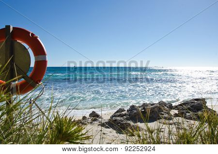 Life Buoy and beautiful beach of Rottnest Island Western Australia