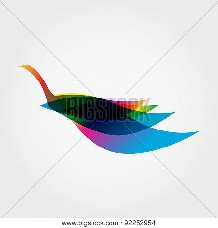 Silhouette of Rainbow Bird Like a Swan. Vector illustration.
