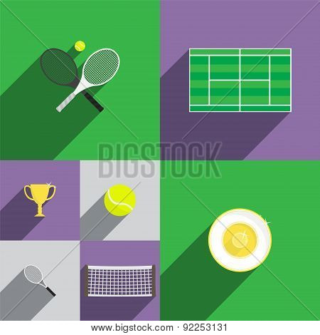 Tennis Icon Set in Flat Style with Rackets, Court, Cup, Trophy, Ball and Net. Vector Illustration.