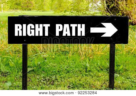 Right Path Written On Directional Black Metal Sign