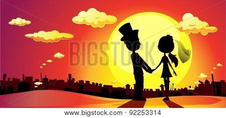 Wedding Silhouette In Sunset - Vector Horizontal Illustration