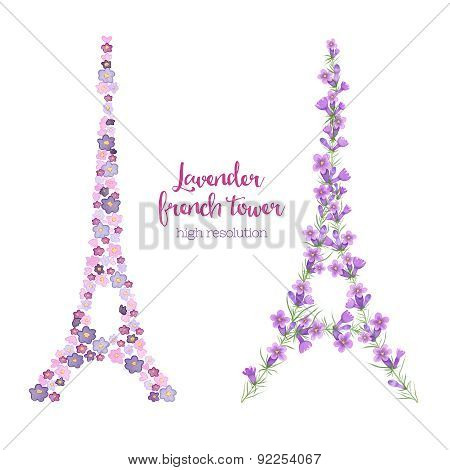 Watercolor Eiffel Tower Made Of Lavender Branches.