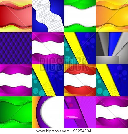 Set Of Sixteen Different And Colorful Abstract Backgrounds