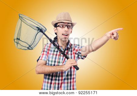 Gardener with net isolated on white