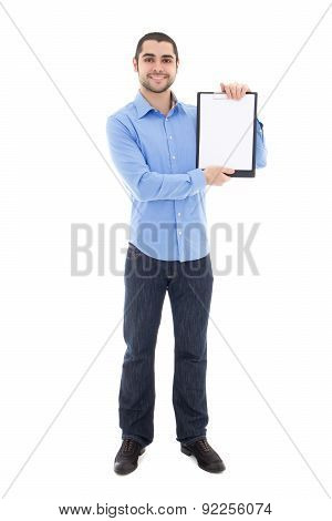 Handsome Bearded Arabic Man Showing Clipboard With Copy Space Isolated On White
