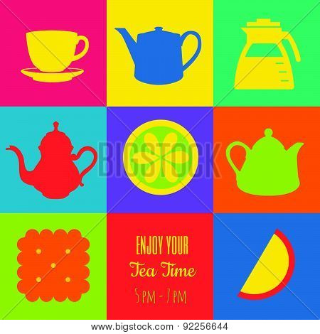 Vector Illustration Of Icons On The Theme Of Tea.