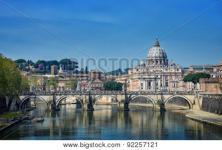 View of St. Peter's Basilica and Bridge Sant Angelo, Rome