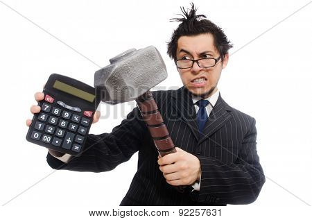 Young employee holding calculator isolated on white