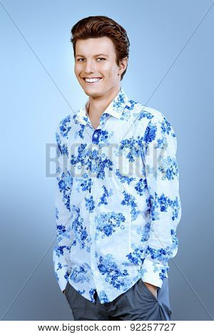 Portrait of a cheerful young man in casual clothes. Men's beauty, fashion. Studio shot.