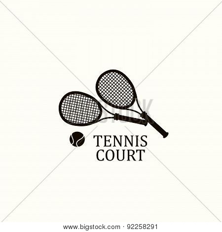 Vector Illustration With Sports Objects For Tennis.