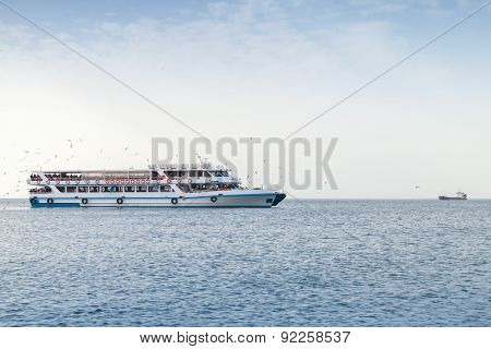 Passenger Boat Full Of People Goes In Izmir, Turkey