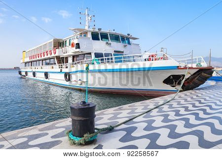 Passenger Boat Stands Moored In Izmir Bay