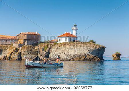 Two Fishermen In Wooden Boat, Bulgaria