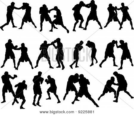boxing silhouette set