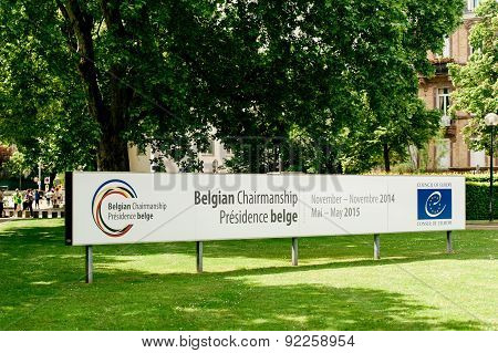 Belgian Chairmanship Banner Of The Council Of Europe