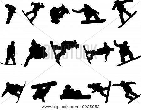 snowboarder man silhouette set
