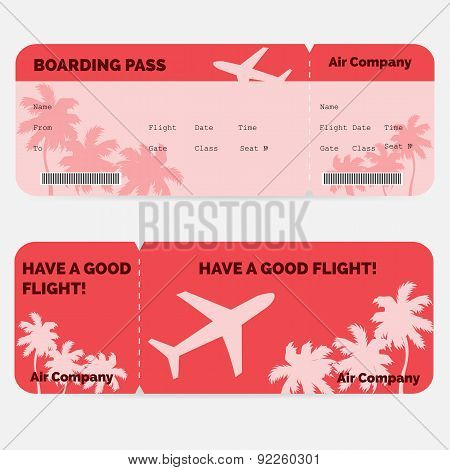 Airline boarding pass. Red ticket isolated on white background