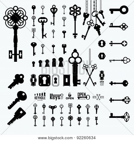 Vector Illustration Of Vintage Keyholes & Keys.
