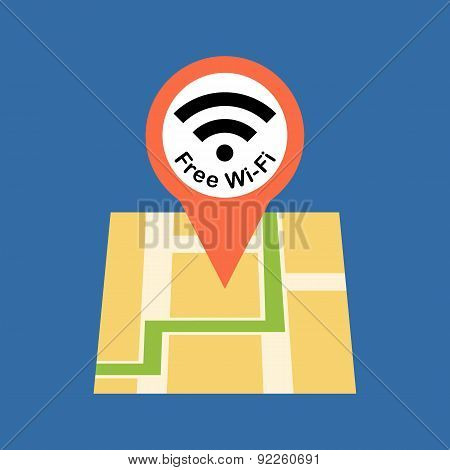 Finding Free Wi-fi Zone Concept . Flat Design.