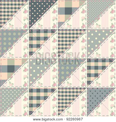 The  patchwork quilt in shabby chic style from triangles.