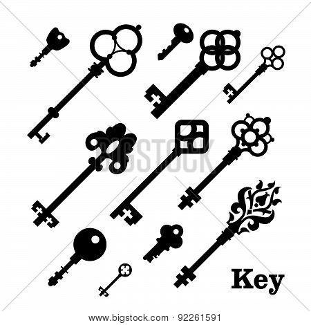 Vector Illustration Of Vintage Keys.
