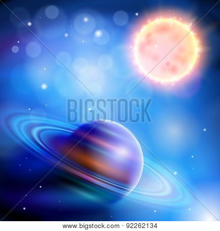 Magic Space - Sun and Saturn, planets, stars and constellations, nebulae and galaxies, lights