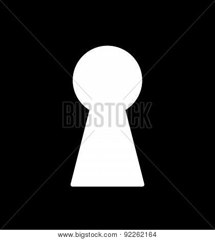 Black & White Vector Illustration With Keyhole.