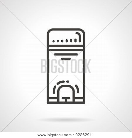 Wastebasket black line vector icon