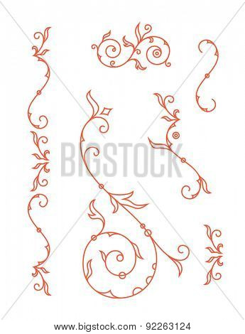 Decoration elements, floral ornaments for wedding invitation card. Vector illustration