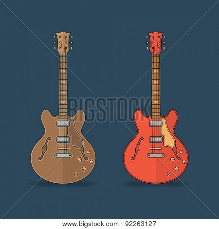 Flat icons of guitar. Vector flat illustration