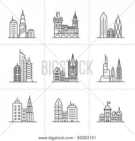 Cityscape icons. Urban city and old town skyline and buildings