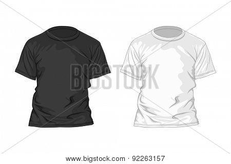 Black and white t-shirt design template. Vector illustration