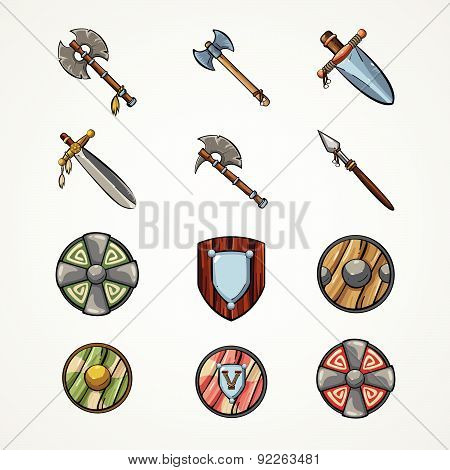 Vector Illustration With Old Weapon Of  Vikings.