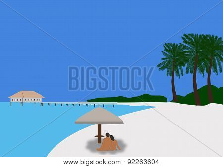 Couple Sitting Under A Parasol On A Tropical Beach 02