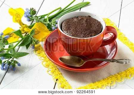Chocolate Cake And Quick Cooking In A Cup