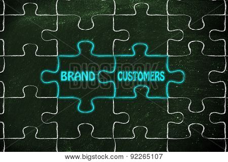 Brand & Customers, Glowing Jigsaw Puzzle Illustration