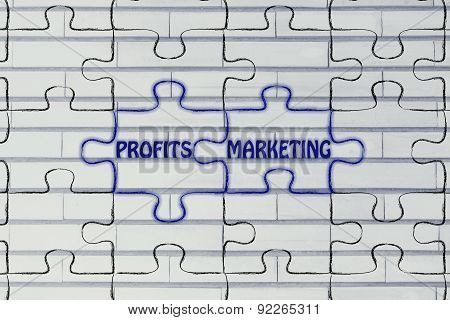 Profits & Marketing, Glowing Jigsaw Puzzle Illustration
