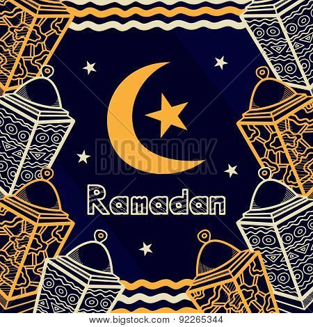Vector ramadan Greeting Card Design With Lanterns, Moon And Stars. Can Be Used Like Background For Y