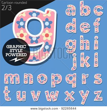 Vector children alphabet set in pretty flower style. File contains graphic styles available in Illustrator. Lowercase letters