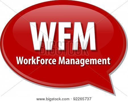 word speech bubble illustration of business acronym term WFM WorkForce Management