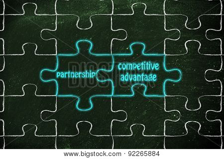 Partnership & Competitive Advantage, Glowing Jigsaw Puzzle Illustration