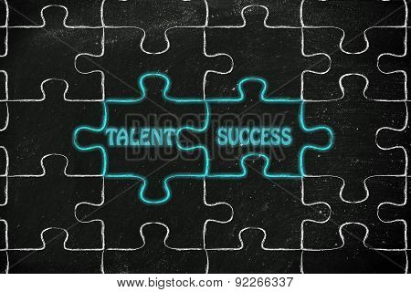 Talent & Success, Glowing Jigsaw Puzzle Illustration