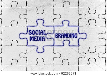 Social Media & Branding, Glowing Jigsaw Puzzle Illustration