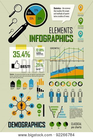 Vector Illustration With Info Graphics Elements In Blue, Yellow & Green Colors.
