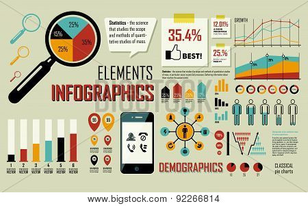 Vector Illustration With Info Graphics Elements In Blue, Yellow & Orange Colors.