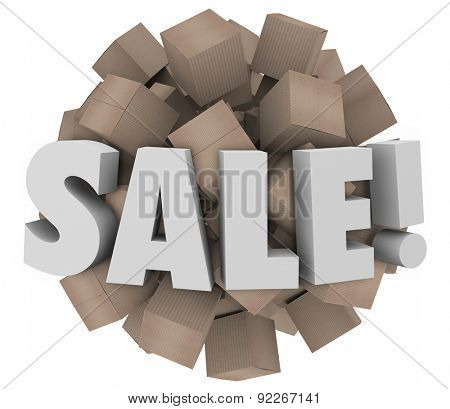 Sale word in 3d letters on a sphere of cardboard boxes to illustrate clearance event of excess inventory or wholesale discounts