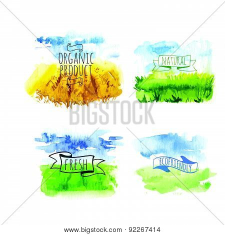 Vector Illustration With Set Of Beautiful Spring Landscape Field.