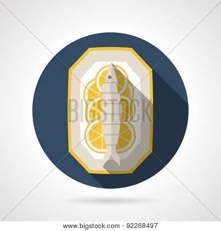 Cooked fish flat color round vector icon