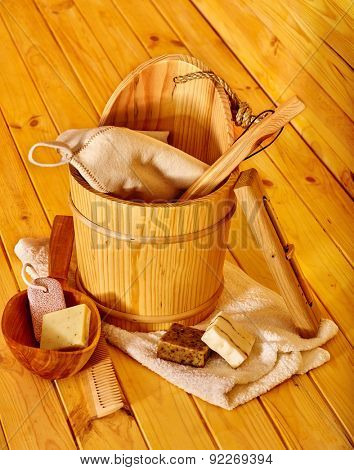 Still life with wooden  sauna accessories. Indoor.