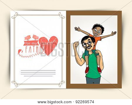 Cute little boy sitting on his father's shoulder, Beautiful greeting card design for Happy Father's Day celebration.